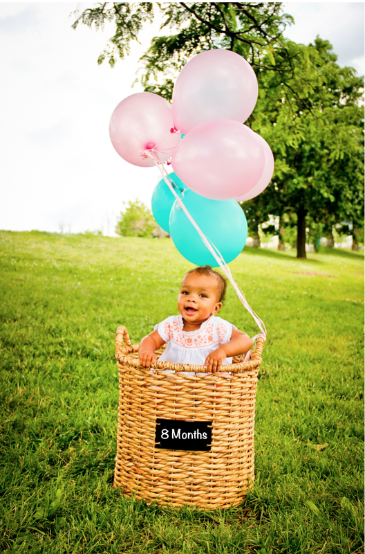 Baby Portrait session in Oak Creek, WI with balloons and basket, by Kelsey Jorissen Photography