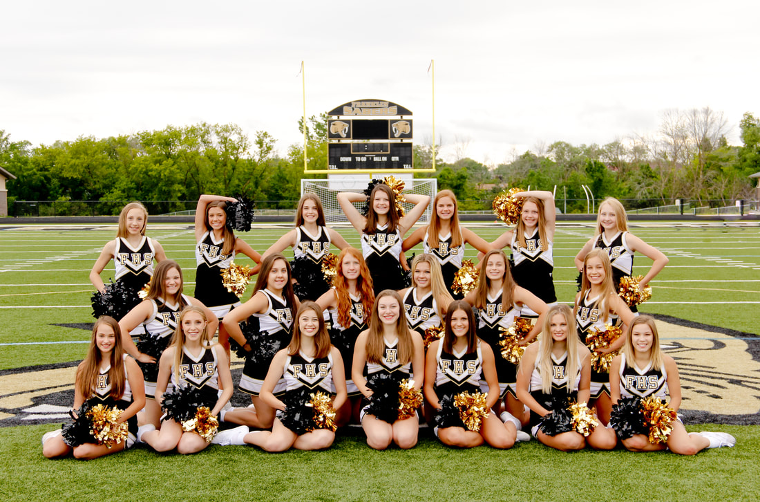 The Franklin High School Dance Team, sport portraits on the football field in uniform, by Kelsey Jorissen Photography