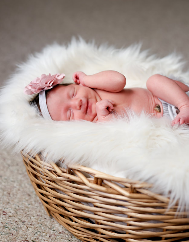 Baby girl with pink head band in cute wicker basket. Milwaukee in-home newborn session by Kelsey Jorissen Photography