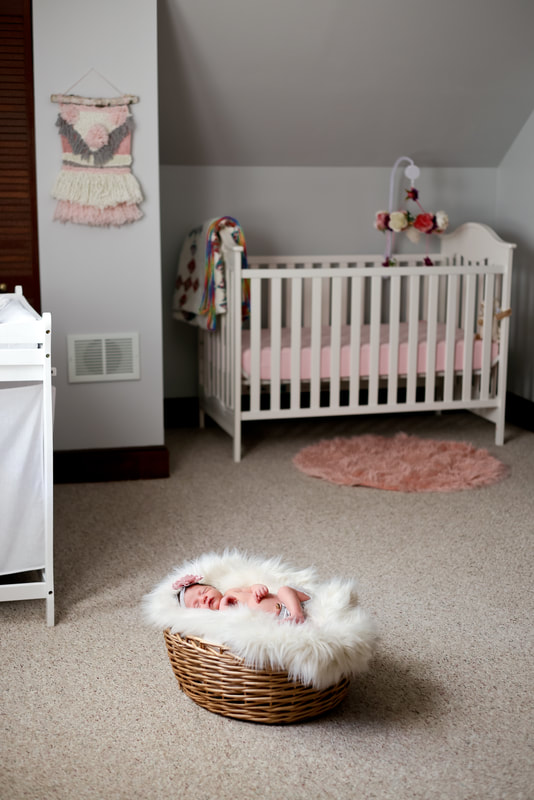 Baby girl nursery in pink and gray, Milwaukee in-home newborn session by Kelsey Jorissen Photography