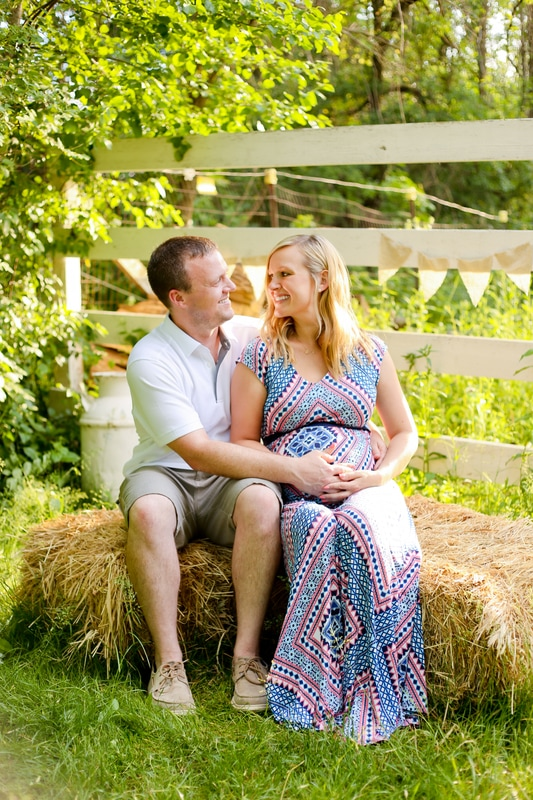 Rustic outdoor maternity portrait session with mom and dad in Franklin, WI by Kelsey Jorissen Photography