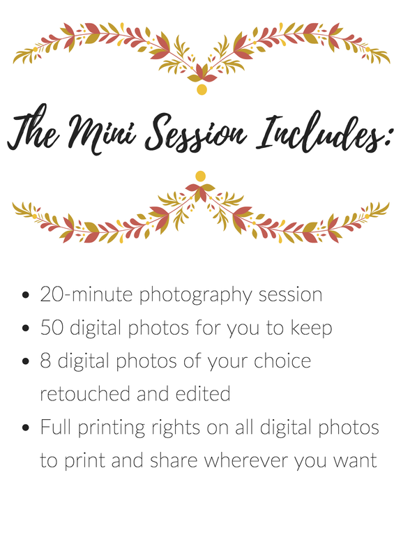 With the mini session you get a 20-minute photography session on Kelsey Jorissen's property, up to 50 digital photos with full rights, and 8 digital photos of your choice edited